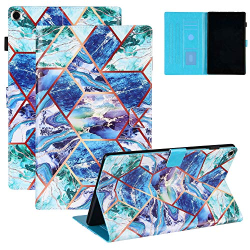 Coopts Grid Marble Case for Kindle Fire HD 10.1' 2019(9th Generation), Amazon Fire HD 10.1 inch 2017/2015 Cover, Flip PU Leather Stand Auto Sleep Wake Pen Holder/Card Slots Protective Case, Blue Green
