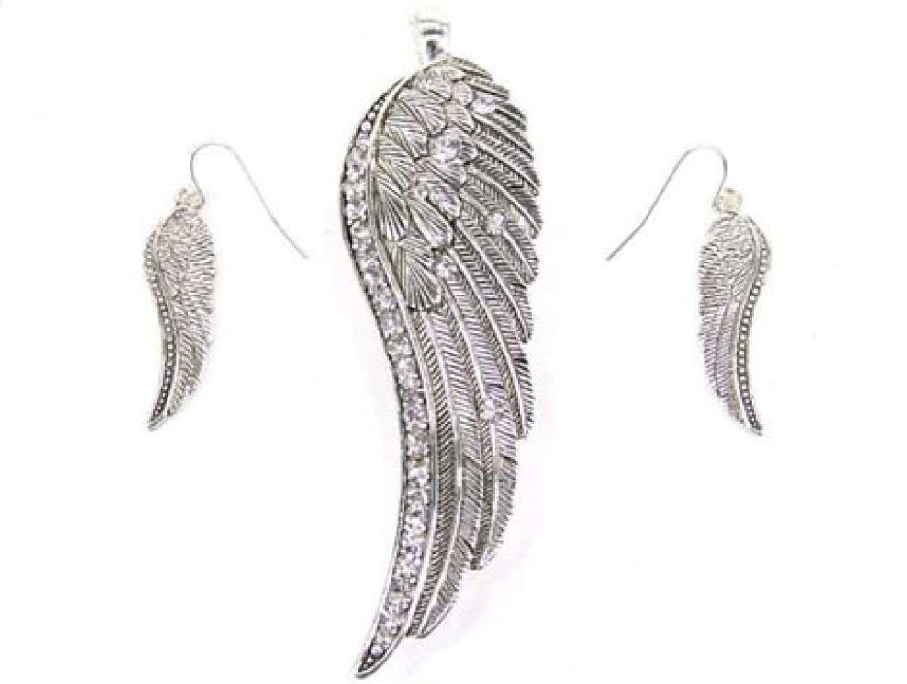 My Prime Gifts Angel Wing Rhinestone Magnetic Clasped Pendant Enhancer & Earring Set