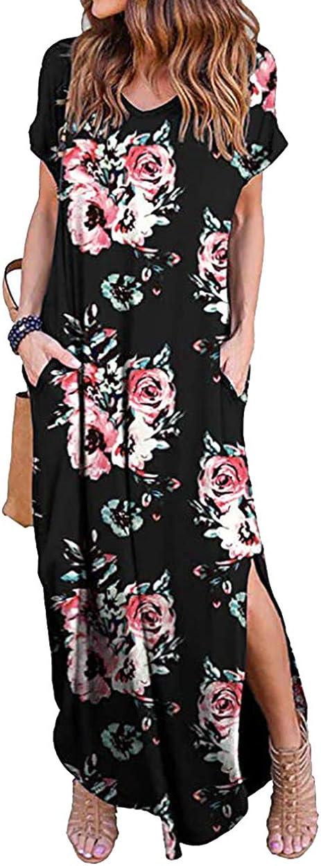 ZICUE Womens Short Sleeve Split Long Maxi Dress V Neck Floral Long Dress with Pockets Plus Size S-2XL