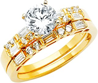 14k Yellow OR White Gold SOLID Engagement Ring and Wedding Band 2 Piece Set