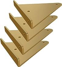Plankdrager, driehoekig, 4 stuks, drijvend, wandmontage, plankhouder van metaal met schroeven en pluggen (230 mm, goud)