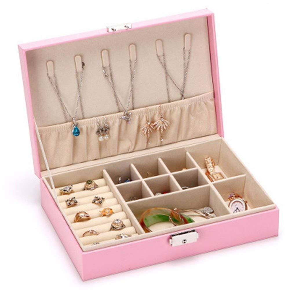 Gu3Je Joyero De Joyas Caja de Embalaje Pendiente del Collar Caja de Almacenamiento Caja de Acabado para Guardar Joyas (Color : Pink, Size : 26.5x18x6.8cm): Amazon.es: Hogar