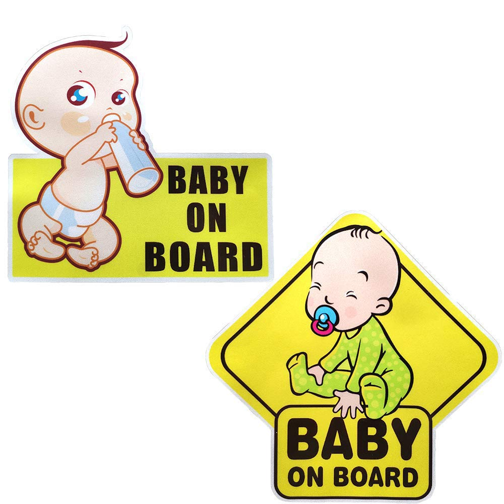 4Pcs Baby on Board Sticker Sign , Baby Board, Baby car Sticker, Baby car Decal, Baby Announcement Board, US Department of Transportation Recommend Color & Shape,Kid Safety
