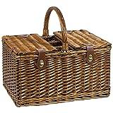 'liebste Mama' Picknickkorb-Set - Großes Luxus-Picknickkorb-Set für 4 Personen - ideal als Präsent für Muttertag - Geburtstagsgeschenk für die Mama