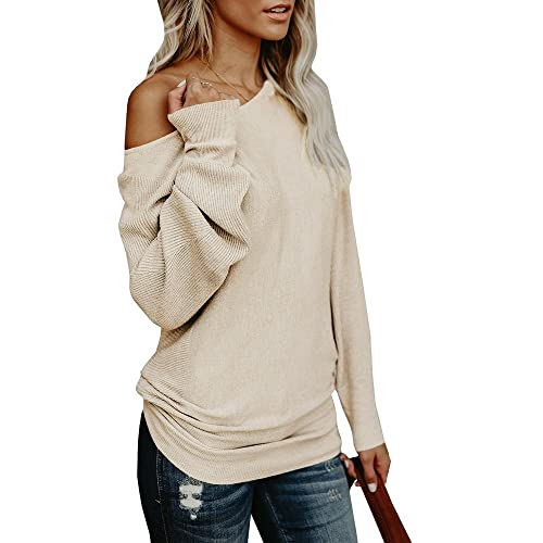 c60a79f06e232 Umeko Womens Off The Shoulder Sweater Oversized Knit Long Sleeve Sweaters  Tunic Tops