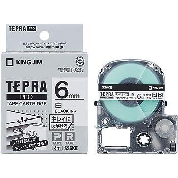 キングジム テープカートリッジ テプラPRO キレイにはがせるラベル 6mm 白 SS6KE
