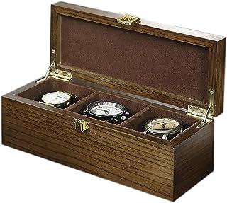 Box Top Carving Watch Box Jewelry Display Case Organiser Holder 3 Watch Storage Wooden Box Metal Buckle Solid Wood Creative Retro Wooden Watch Box Organizer Wood
