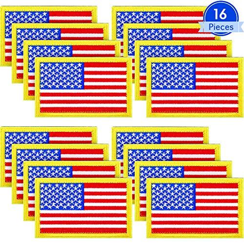 16 Piezas Parches Tácticos Bandera Americana Apliques