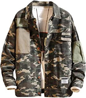 Howely Mens Camouflage Buttoned Casual Hiking Lightweight Coat Jacket
