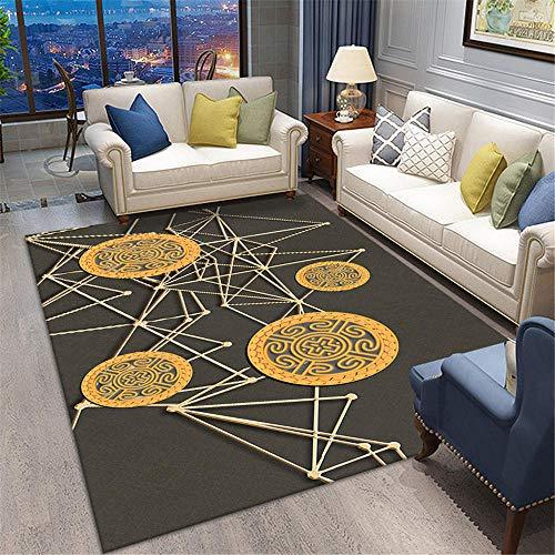 DJHWWD Gleitschutz Teppich Wohnzimmer Teppich gelb einfache geometrische Muster weichen Teppich...