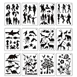 8.2x11.6 inches Plastic Stencils Set Craft Educational Toys for Kids -Love Patterns Painting Stencils for Children. 12 Pack People Plants Animals Pattern