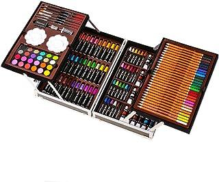 145pcs Deluxe Art Set Portable Aluminum Case with Markers Color Pencils Oil Pastels Watercolor Cakes Paints and Accessorie...