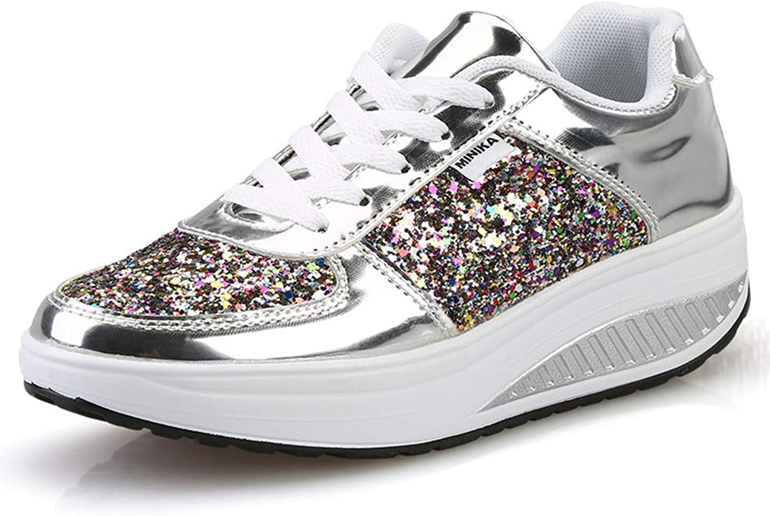 ASO-SLING Women's Wedge Sneakers Casual Comfortable Increased Height Platform Sequined Leather Lace up Walking shoes