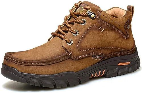 HWG-GAOYZ Chaussures Homme Bottes Martin Chaussures De Randonnée en Coton Velours à Taille Haute Winter Outdoor Plus,Khaki-44