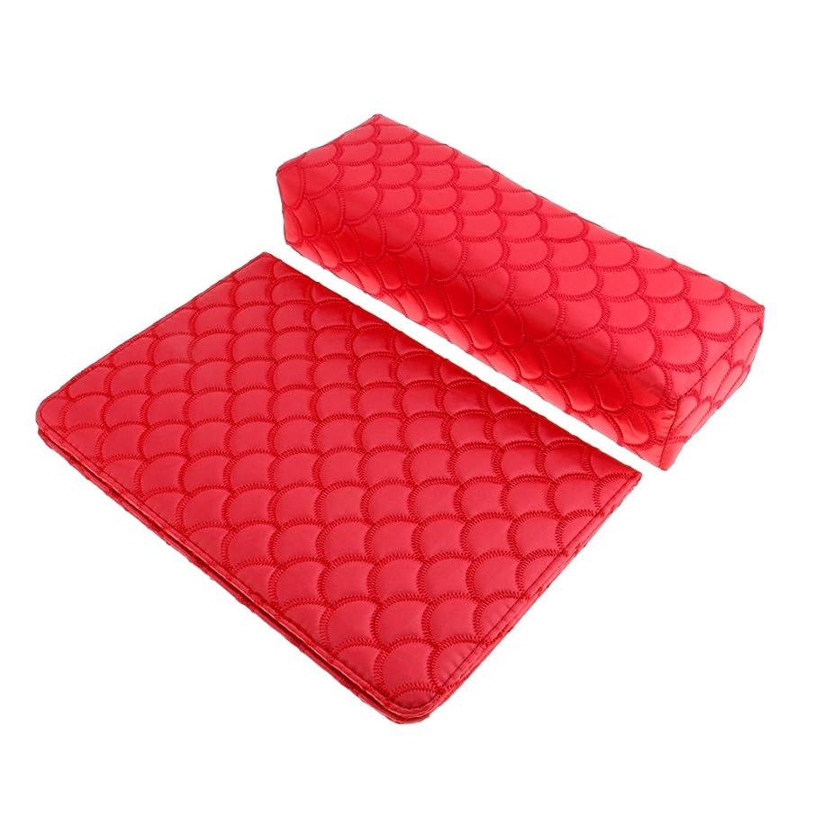 パッケージブラウン講堂Perfeclan ソフト ハンドクッション ネイルピロー パッド ネイルアート デザイン マニキュア アームレストホルダー 多色選べる - 赤