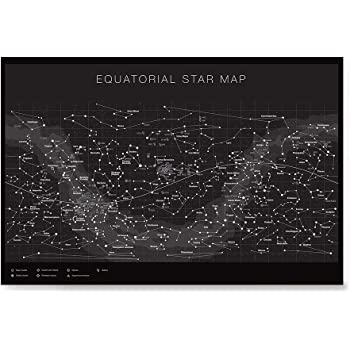 Higly Detailed Equatorial Star Map Poster - Constellations with Star Names - Wall Art Print for School Home Office Classroom Decor - Black - 16X24 inches