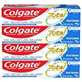 Colgate Total Whitening Toothpaste Gel with Stannous Fluoride and Zinc, Original, Pack of 4, Whitening Mint, 19.2 Ounce