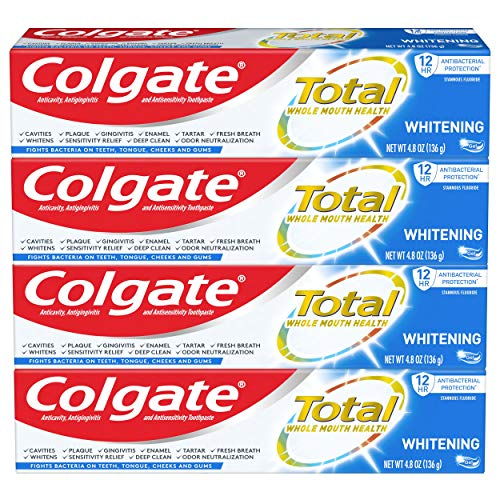Colgate Total Whitening Toothpaste Gel with Stannous Fluoride and Zinc, Whitening Mint - 4.8 Ounce (4 Pack)