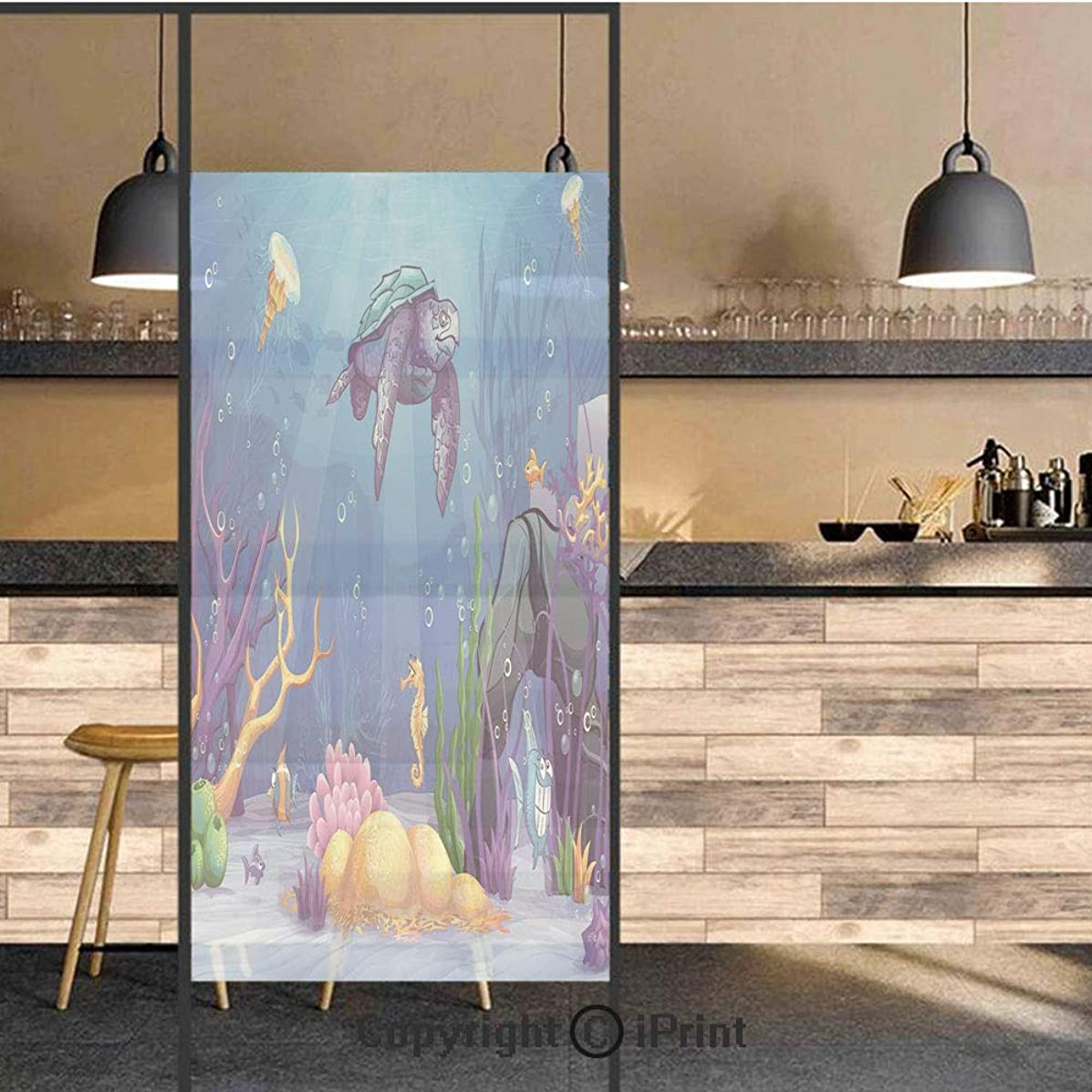 3D Decorative Privacy Window Films,Underwater World Cartoon Style Illustration Funny Fish Jellyfish Sea Horse,No-Glue Self Static Cling Glass film for Home Bedroom Bathroom Kitchen Office 17.5x71 Inch