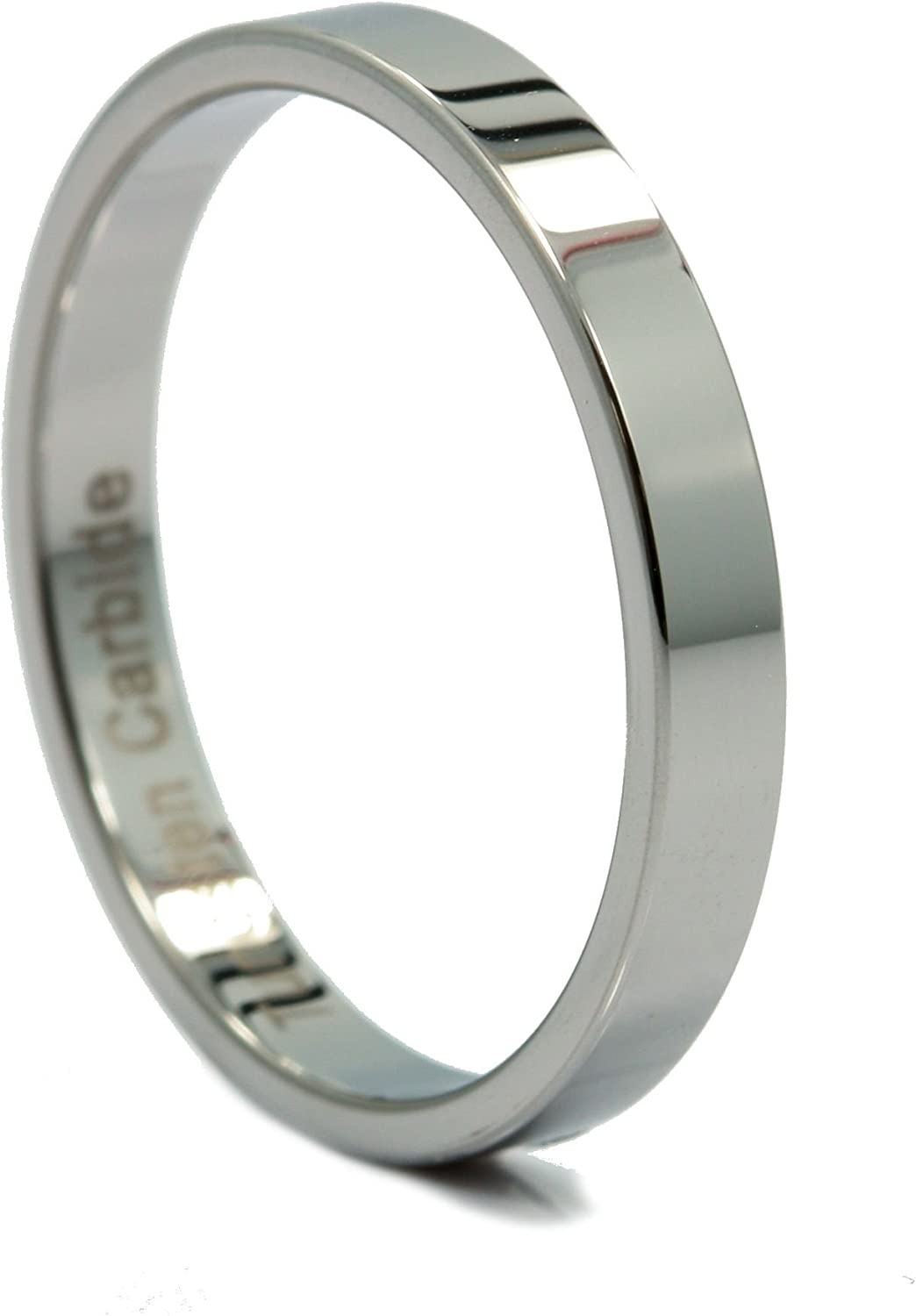MJ Metals Jewelry 3mm Flat Pipe Cut Tungsten Carbide Mirror Polished Wedding Ring Band Size 7