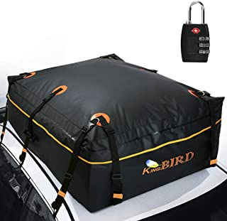 KING BIRD 2019 Upgraded 100% Waterproof Roof Bag with External Non-Slip Mats, 15 Cubic Feet Heavy Duty Car Top Cargo Carrier with Built-in Protective Mat Fits All Cars with/Without Rack