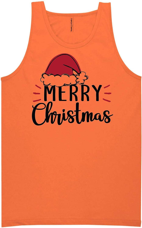 zerogravitee Merry Christmas Hat Neon Orange Tank Top - XX-Large