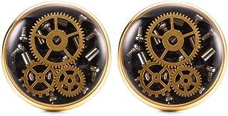 Steampunk Mens Cufflinks Vintage Recycled Watch Movement Silver Rose Gold Black Cufflink for Men