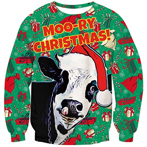 Goodstoworld Cow Sweatshirt Natale Felpe 3D Uomo Donna Maglione Natalizio Brutto Divertente Xmas Renna Pullover T-Shirt
