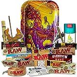 Bandeja para liar Rick y Morty 27,5cm x 17,5cm – Edición Limitada - Papeles Raw + Papeles Element + Actitube + Bote Antiolor + Liadora Bambú + Cono + Poker + Tips + Filtros + Pegatinas + Llavero