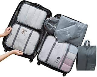 7 Set Travel Storage Bags, Womdee Waterproof Travel Storage Bags Clothes Packing Cube Luggage, Packing Organizers Compress...