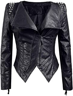 DISSA P605 Women Faux Leather Biker Jacket Slim Coat Leather Jacket