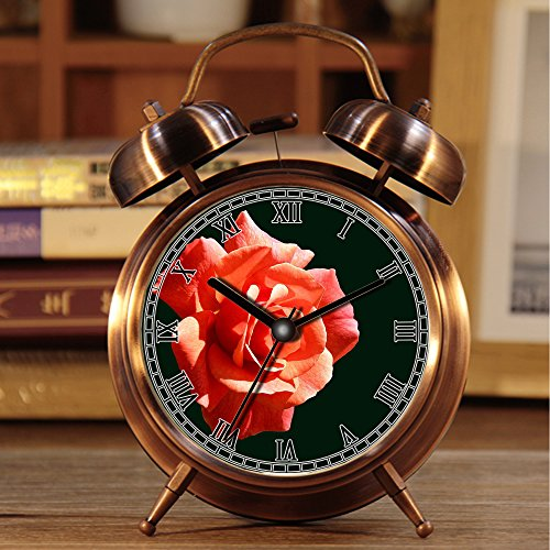 alarmclock Rã © veille-Matin, Retro portátil Twin Bell à C?Tã © de rã © Veil con lamparilla 558. Rosa, Cristal de Hielo, congelã © s, Flor, frío, Magia de Invierno