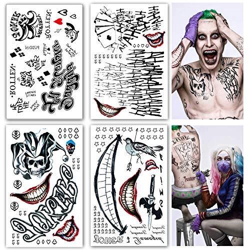 4 große Blätter Harley Quinn Tattoo Bogen Set temporär - Aufkleber Körperkunst - Karneval Fasching Halloween Cosplay