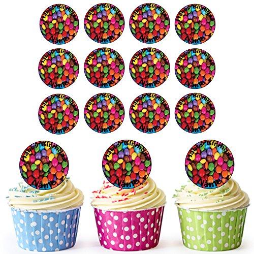 Vorgeschnittene Personalisierte Smarties - Essbare Cupcake Topper / Kuchendekorationen (24 Stück)