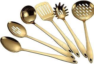Cooking Utensils Stainless Steel Kitchenware Cooking Tool Set Set Gold Scoop Soup Ladle Skimmer Colander Kitchen Accessori...