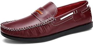 [QIFENGDIANZI] スリッポン メンズ ドライビングシューズ デッキシューズ 紳士靴 ウォーキングシューズ カジュアルシューズ スニーカー モカシン ローファー フラットシューズ かかとが踏める 快適 コンフォート ブラック ブラウン レッド