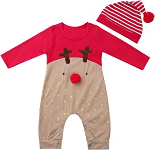 CHICTRY Unisex Baby Boy Girl Clothes 1 Piece Christmas Long Sleeve Red Nose Reindeer Romper Pajama Outfit Set