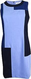 Calvin Klein Women's Petite Sleeveless Patchwork Denim Sheath Dress