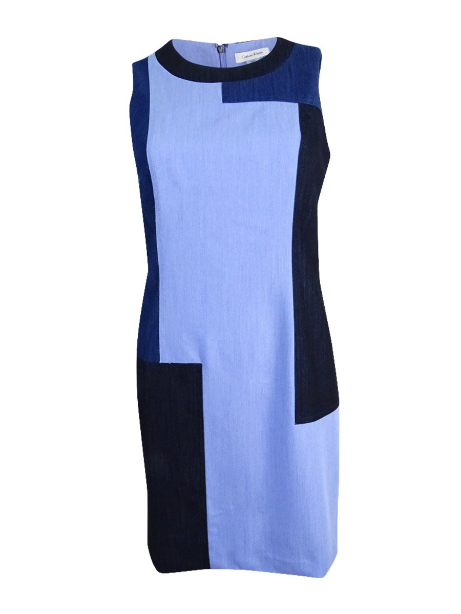 Available at Amazon: Calvin Klein Women's Petite Sleeveless Patchwork Denim Sheath Dress