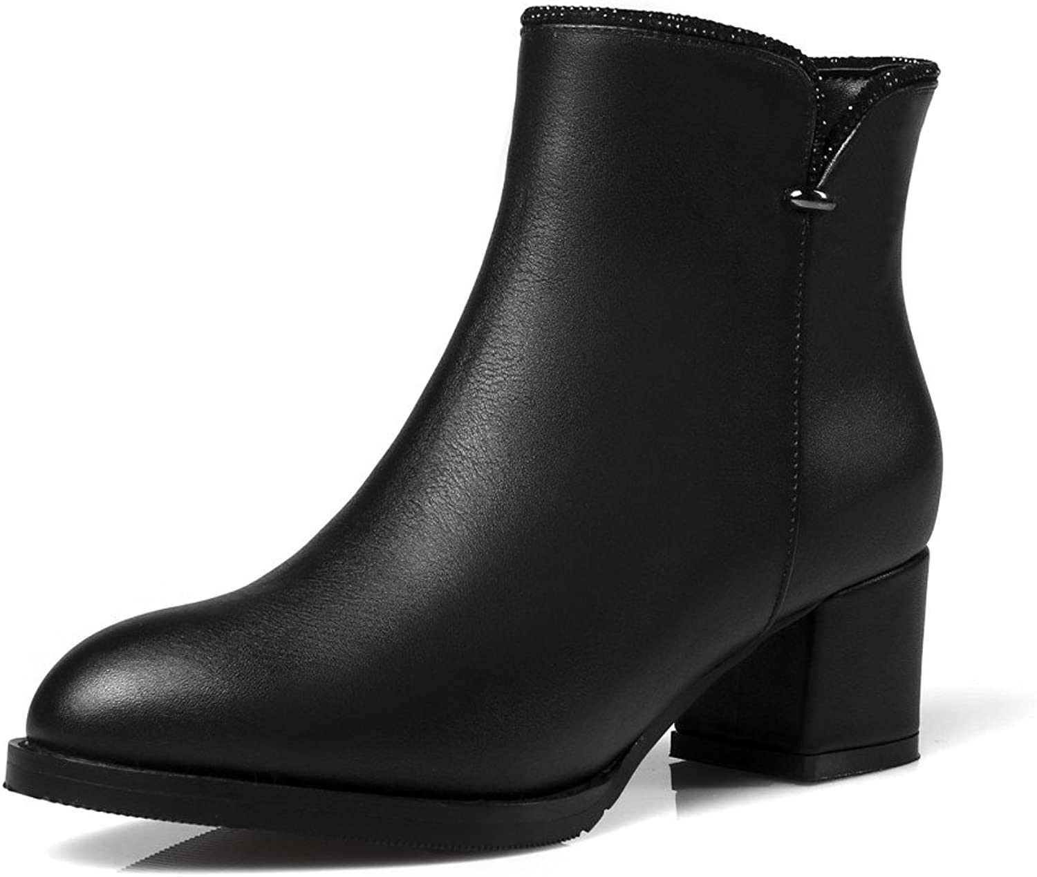 Nine Seven Genuine Leather Women's Round Toe Chunky Heel Zipper Fashionable Handmade Designed Ankle Boots