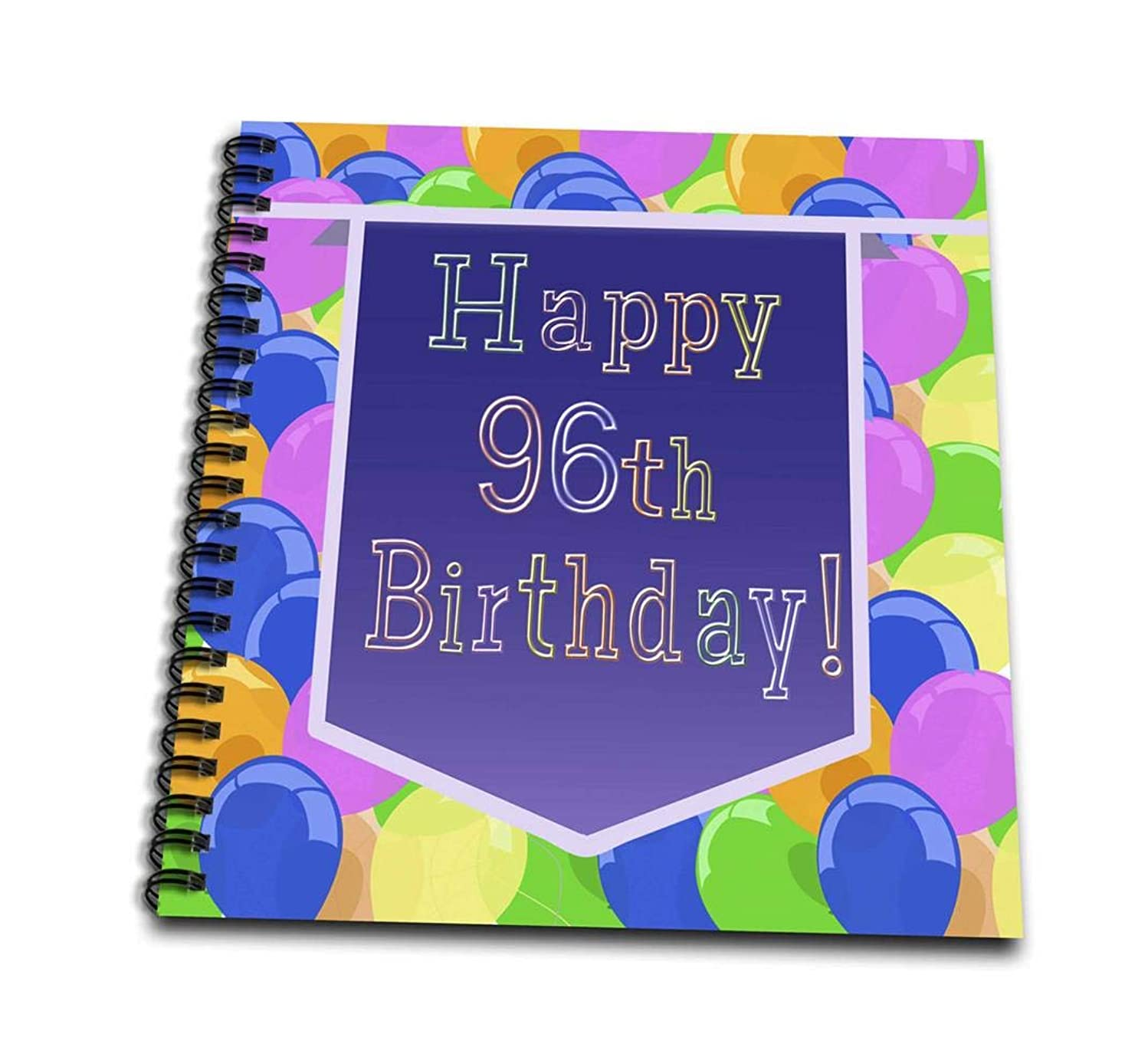 3dRose db_174860_1 Balloons with Purple Banner Happy 96Th Birthday-Drawing Book, 8 by 8-Inch