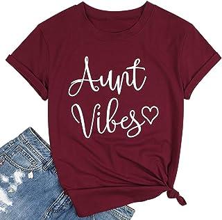 """تيشيرت Aunt Vibes Top Aunt Gift Top Aunt للنساء لطيف الحب القلب قميص قصير الأكمام مطبوع عليه عبارة """"Aunt Vibes Shirt Shirt..."""