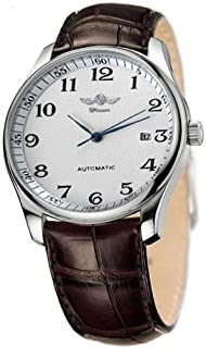 VIGOROSO Men's Classic Automatic Mechanical Day Calendar Luxury Leather Band Watch