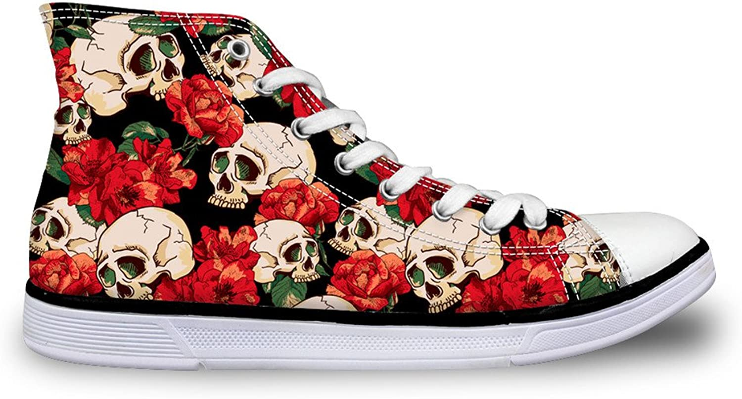 FOR U DESIGNS High-Cut Canvas shoes Sneaker Season Lace UPS Skull shoes Casual Trainers for Womens