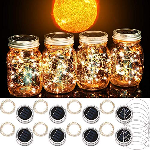 Cooo Mason Jar Solar Lights 8 Pack Lids 20 Fairy Lights Solar Powered Waterproof Lanterns Outdoor for Yard Garden Lawn Decor Lamps-Only Handmade Jars Lids Lights&8 Hanger/NOJar-Warm White