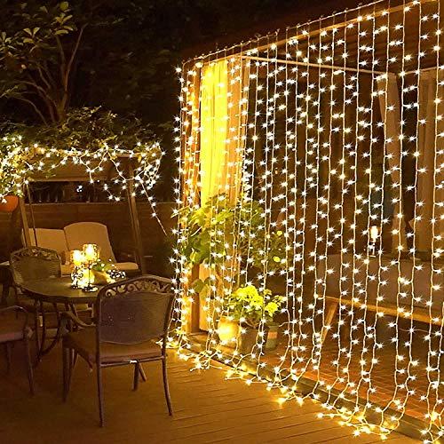 Elegear Cortina Luces Navidad 6 * 3M 600LED en Cortina Luces Led End-to-End IP44 Impermeabilidad 8 Modo Flash para Navidad, Decorar Fiestas, Interiores etc.(6m*3m)