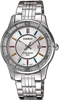 Casio #LTP1358D-7A Women's Lamé-Sprinkled Bezel Metal Fashion Silver Dial Watch