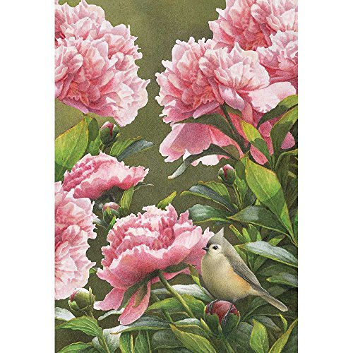 Magnolia Garden Baby Pink Peonies and Finch Bird 44 x 30 Rectangular Screenprint Large House Flag