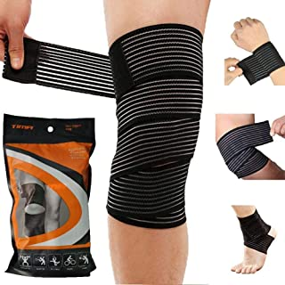 Tima 1117 Elastic Knee Compression Bandage Wraps – Support for Legs, Thighs, hamstrings Ankle & Elbow Elastic Compression ...