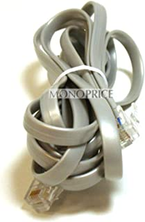 Monoprice RJ12 Phone Cable (6P6C) Straight - 7 Feet - Grey Used for Data